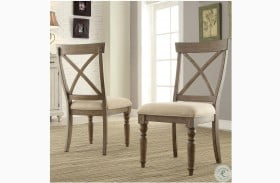 Aberdeen Weathered Driftwood Upholstered Side Chair Set of 2