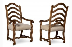 Collection One Harvest Burnished Pine Arm Chair Set of 2