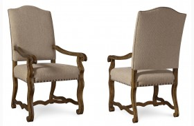 Collection One Harvest Upholstered Burnished Pine Arm Chair Set of 2