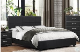 Lorenzi Black Upholstered Platform Bed