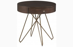 Epicenters Silver Lake 1 Drawer Round End Table