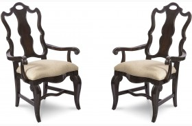 Continental Vintage Melange Splat Back Arm Chair Set of 2