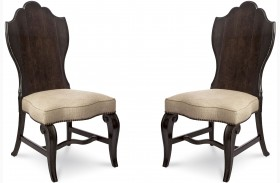 Continental Vintage Melange Wood Back Side Chair Set of 2
