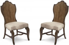 Continental Weathered Nutmeg Wood Back Side Chair Set of 2