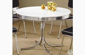 2388 Retro Chrome Round Retro Dining Room Set from Coaster ...