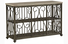 Toscana Antique Pewter Metal Console Table