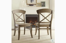 Regan Weathered Driftwood X Back Dining Chair Set of 2
