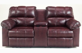 Kennard Burgundy Double Reclining Loveseat with Console
