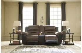 Earhart Chestnut Double Reclining Loveseat with Console