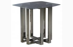 Hashtag Black Chrome Metal End Table