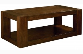 Franklin Burnished Brown Cherry Rectangular Cocktail Table