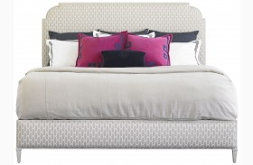 Charleston Regency Gray Linen Peninsula Queen Upholstered Bed