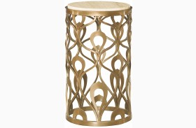 Bob Mackie Champagne Steel Round End Table