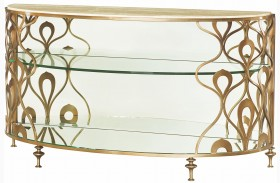 Bob Mackie Champagne Steel Demi-Lune Sofa Table