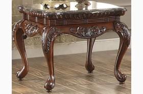 Mariacarla Dark Cherry Marble Top End Table