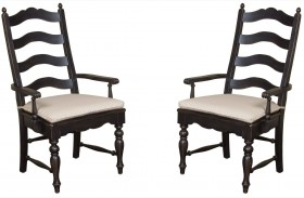 Homecoming Vintage Pine Ladderback Black Arm Chair Set of 2