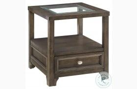 Auburn Brown Cherry Glass Top End Table