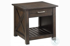 Traine Brown Drawer End Table