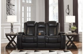 Party Time Midnight Power Reclining Loveseat with Adjustable Headrest