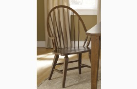Hearthstone Rustic Oak Windsor Back Arm Chair