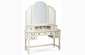 Inspirations Seashell White 3 Drawer Boutique Desk with Mirror