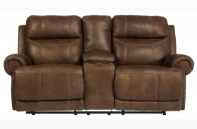 Austere Brown Loveseat with Console