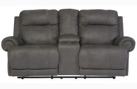 Austere Gray Double Power Reclining Loveseat with Console