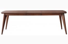Modern Harmony Burnished Walnut Rectangular Leg Extendable Dining Table