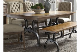 Arlington House Cobblestone Brown Trestle Dining Table