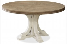 Moderne Muse Canvas And Bisque Round Dining Table
