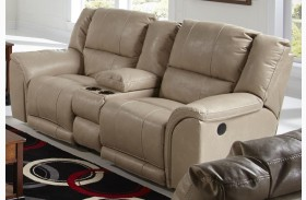 Carmine Pebble Power Reclining Loveseat with Console
