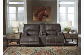 Kitching Java Power Reclining Console Adjustable Headrest Loveseat