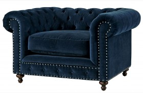 Curated Berkeley Sumatra Blue Velvet Chair