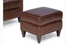 Logan Trends Walnut Leather Ottoman