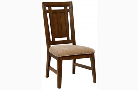Estes Park Artisan Oak Upholstered Seat Side Chair Set of 2