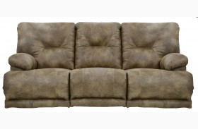 Voyager Brandy Power Reclining Sofa With 3 Recliners