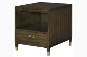 Stratus Umber Brown Pecan Rectangular Drawer End Table