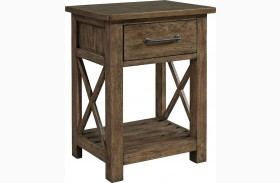 Sonoma Road Beaten Bark Finish 1 Drawer Nightstand