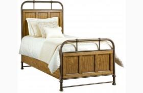 New Vintage Brown Twin Metal/Wood Bedstead Bed