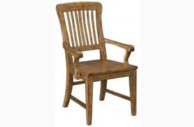 New Vintage Brown Wood Seat Arm Chair Set of 2