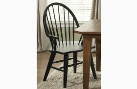Hearthstone Black Windsor Back Arm Chair