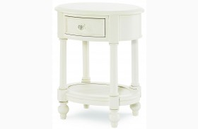 Harmony Antique Linen White 1 Drawer Oval Nightstand