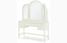 Harmony Antique Linen White 3 Drawer Desk with Hutch