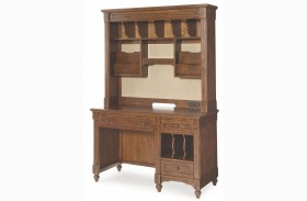 Big Sur Saddle Brown 3 Drawer Desk with Hutch