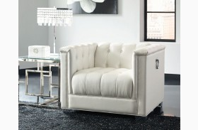 Chaviano Pearl White Tufted Chair