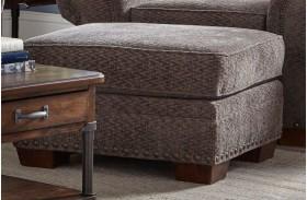 Cambridge Walnut Chenille Fabric Ottoman