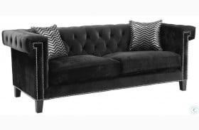 Reventlow Black Velvet Sofa