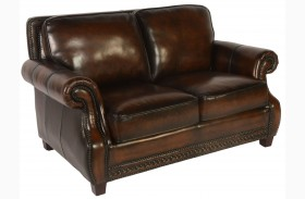 Prato Black & Tan Leather Loveseat