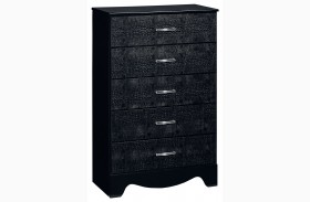 Vogue Glossy Black 5 Drawer Chest