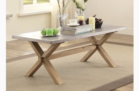 Luella Cool Weathered Oak Zinc Top Cocktail Table